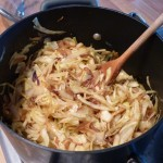 add the sliced cabbage and cook on a low heat with a lid on for 40-50 minutes